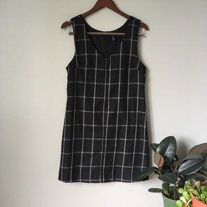 Black plaid checkered shirt dress
